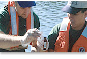 Picture of hydrologists collecting water samples.
